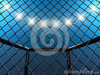 MMA Fight cage and floodlights