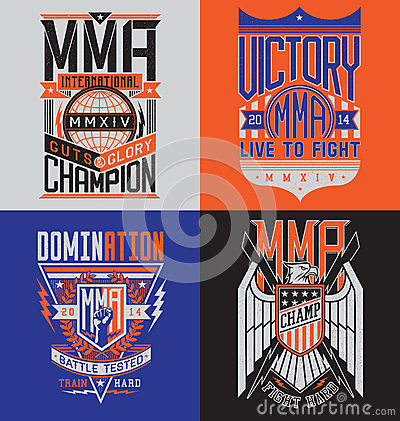 Free MMA T-shirt Design Emblem Set Stock Photos - 43400873