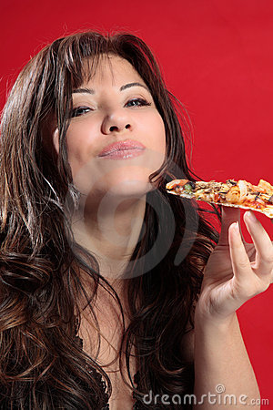 Mmmm woman enjoying pizza