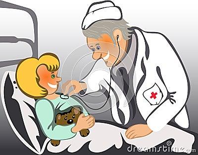 Männlicher Doktor, der ein Kind überprüft