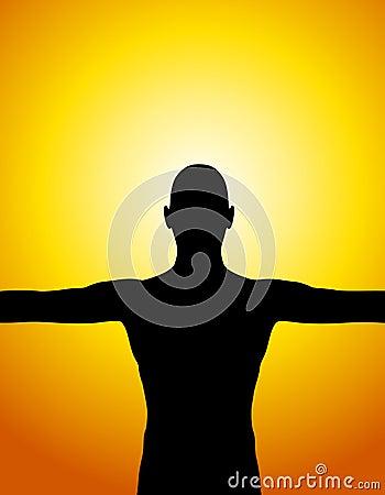 Mänsklig silhouettesolnedgång för huvuddel