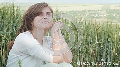 Moça bonita que senta-se entre os spikelets verdes altos do trigo no campo Mulher feliz nova que aprecia o verão, harmonia de h vídeos de arquivo