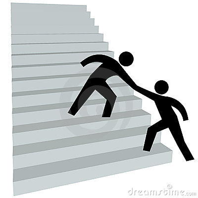 Mão amiga para ajudar o amigo acima no stairway a cobrir