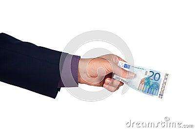 Mão com a nota de banco do euro vinte