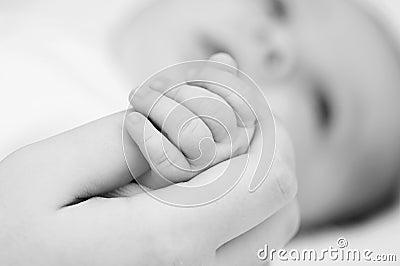 Mão do recém-nascido