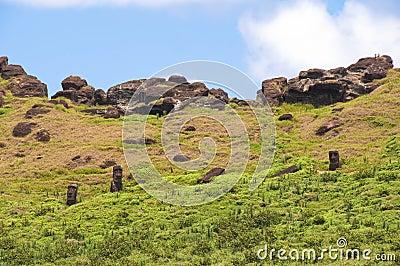 Moais at Rano Raraku volcano