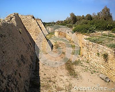 Moat at Caesarea, Israel.
