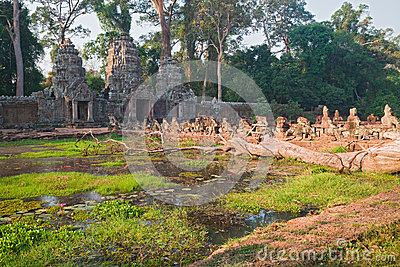 Moat at North Gopura, Preah Kahn, Angkor, Cambodia