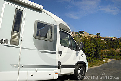 Mobil home on road in France