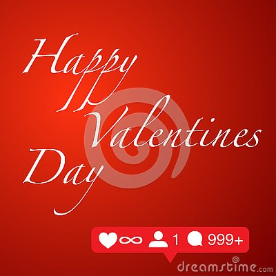 Happy valentines day on red background social network concept Stock Photo