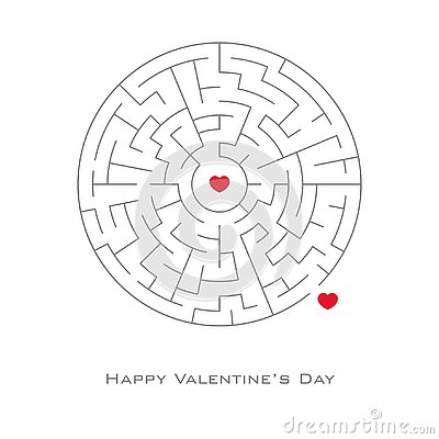 Valentine`s day background with heart shaped in maze and labyrinth style, , flyer, invitation, posters, brochure, banners. Stock Photo