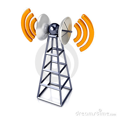 Mobile antena over white