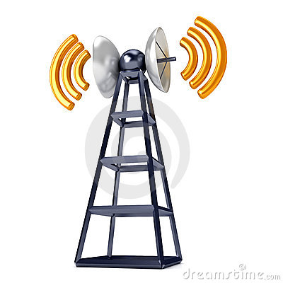 Mobile antena over white