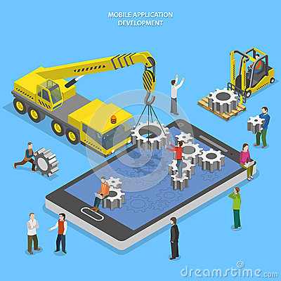 Free Mobile App Development Flat Isometric Vector Royalty Free Stock Photography - 55641537