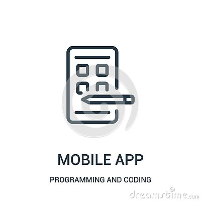 mobile app icon vector from programming and coding collection. Thin line mobile app outline icon vector illustration Vector Illustration