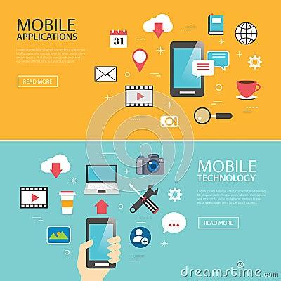 mobile application technology banner template flat design stock vector image 59962633. Black Bedroom Furniture Sets. Home Design Ideas