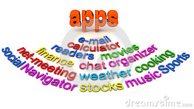 Mobile apps word collage