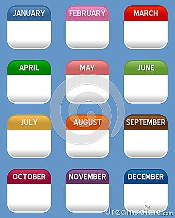 Mobile Calendar Icons Set