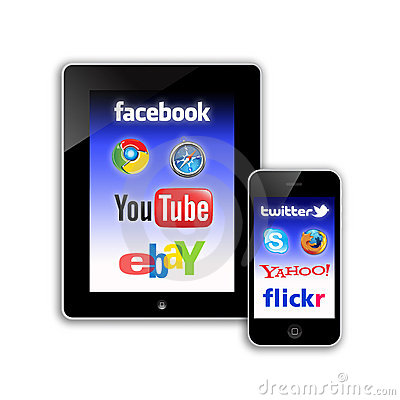 Mobile Communications social network Editorial Stock Image