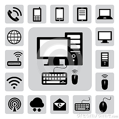 Mobile ,computer and network icons .