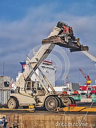 Mobile crane at docks Editorial Stock Image
