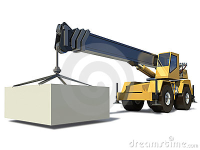 Mobile crane with a load on the jib crane.