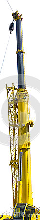 Free Mobile Crane Of Yellow Color With Fully Stretched Telescopic Arm Royalty Free Stock Images - 41891739