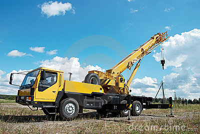 Mobile crane with risen boom