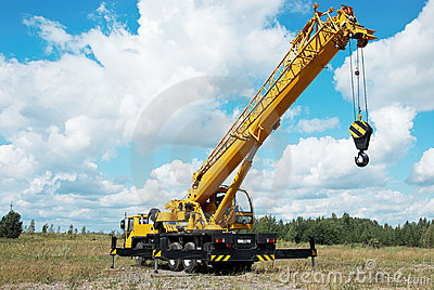 Mobile crane with risen boom