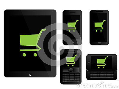 Mobile Devices Shopping Icons Black
