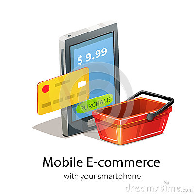 Mobile e commerce concept stock vector image 73462047 for E commerce mobili