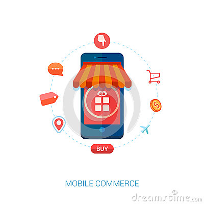 Mobile e commerce and local shop flat icon stock vector for E commerce mobili