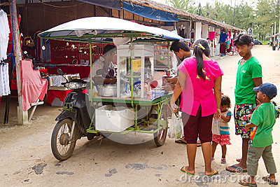 Mobile food shop on the market in Khao Lak Editorial Photo