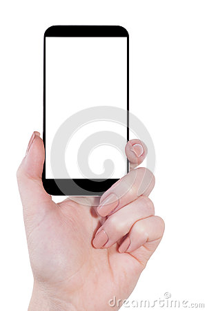 Mobile in hand isolated