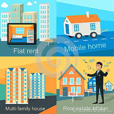 Mobile home flat rent multi family house stock vector for Multi family modular home prices