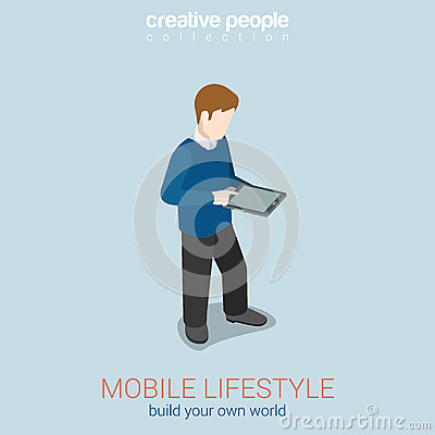 Mobile lifestyle flat 3d web isometric infographic concept for Build your own net dream