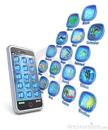 Mobile phone 3d applications on white background
