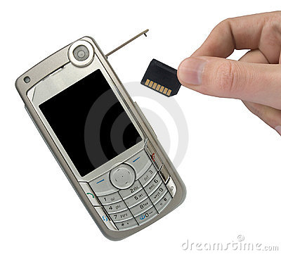 Free Mobile Phone And Hand With Memory Card Royalty Free Stock Photography - 1418637