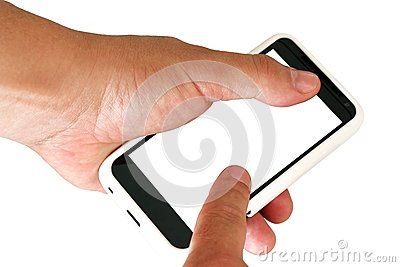 Mobile phone with blank screen in a man s hand.