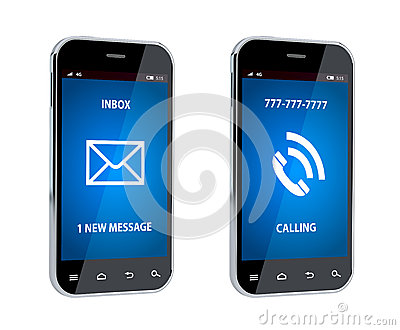 Mobile phone with call and message sign