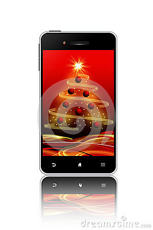 Mobile phone with christmas screen over white background