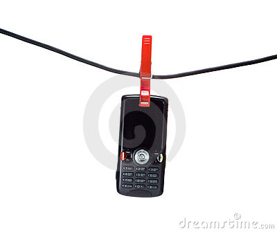 Mobile phone on a clothes line