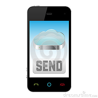 Mobile phone with cloud computing icon