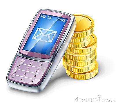Mobile phone and coins.
