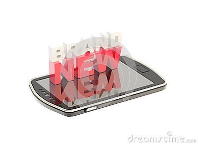 Mobile phone concept with words brand new