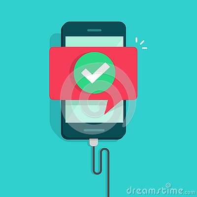 Free Mobile Phone Connected Wire Charger Vector Illustration, Flat Cartoon Smartphone With Checkmark Or Tick With Success Royalty Free Stock Photography - 130220077