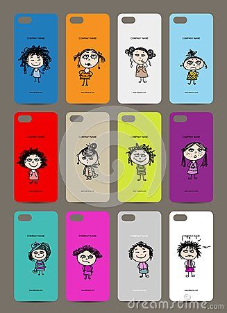 Mobile phone cover back , 12 funny girls for your