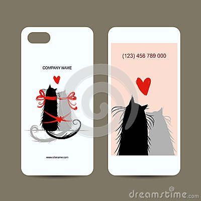 Mobile phone cover back and screen, love cats for