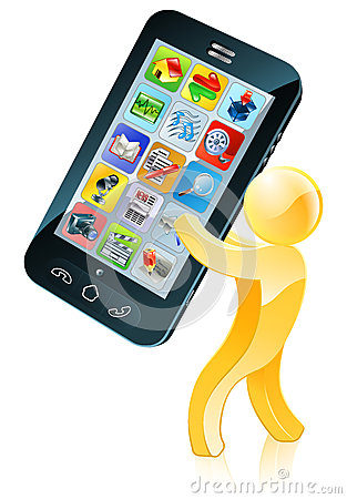 Mobile phone gold man