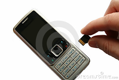 Mobile phone and hand with memory card